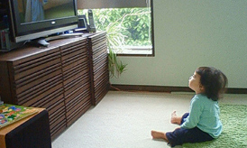 toddler watching tv
